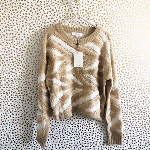 NWT John + Jenn Textured Fuzzy Printed Sweater